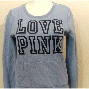 Pink Victoria secret crew-neck blue sweater